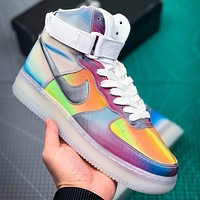 Inseva NIKE Air Air Force Fashion New Hook Laser Women Men Multicolor High Top Shoes