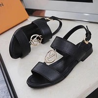 Louis Vuitton Women Fashion Leather Sandals Shoes