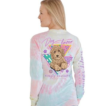 Simply Southern Retro Dog Lover Tie Dye Long Sleeve T-Shirt