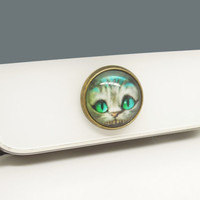 1pc Retro Epoxy GlassTransparent Time Gems Cute Cat Alloy Cell Phone Home Button Sticker Charm for iPhone 4s,4g,5,5c iPad 2,3,4 Charm