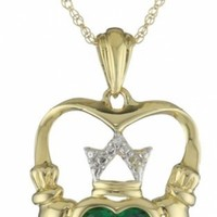 14k Yellow Gold Created Emerald Claddagh Necklace @ Jewelry Wonder