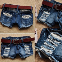 Retro Women's Low Waist Tassel Hole Lace Jeans Denim Shorts SV002873 = 1745402692
