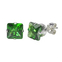Emerald Square CZ Stud Earrings .925 Sterling Silver Prong