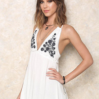 Ivory Embroidered Flared Crepe Tank Top
