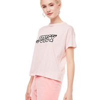 JXJC LOGO SPLIT NECK GRAPHIC TEE
