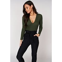 Live In The Moment Ribbed Bodysuit (Olive)