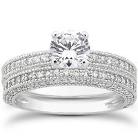 1.33CT Heirloom Milgained Diamond Engagement Wedding Ring Set 14K White Gold