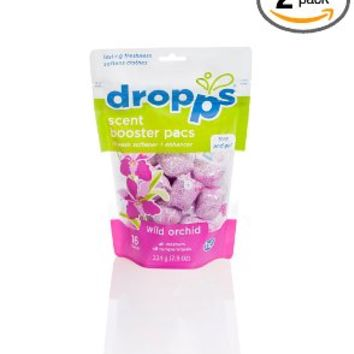 Dropps Scent Booster Pacs with In-Wash Softener + Enhancer, Wild Orchid, 16 Loads (Pack of 2)