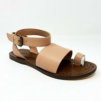 Free People Torrence Flat Blush Sand Rose Womens Leather Ankle Strap Sandals
