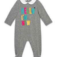 Hello I'm New Collared Footie Pajamas, Medium Gray, Size 0-18 Months, Size: