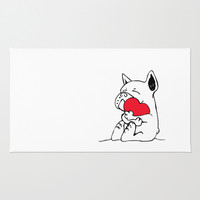 Frenchie Heart Rug by Huebucket