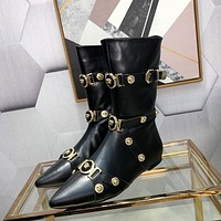 VERSACE  Trending Women's men Leather Side Zip Lace-up Ankle Boots Shoes High Boots
