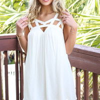 City Lights Vanilla Dress With Cutout Detail