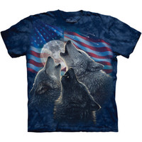 WOLF TRINITY AMERICA T-Shirt The Mountain Patriotic American Flag Wolves S-5XL