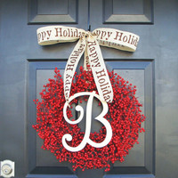 Monogram Winter Wreath, Christmas Wreath, Red Berry Wreath, Christmas Wreath, Happy Holidays-  Featured in Better Homes and Gardens Magazine