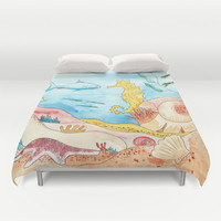 Hello Seahorse Duvet Cover by Catherine Holcombe | Society6