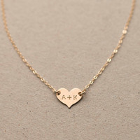 Small Heart Necklace / Delicate Personalized Heart Necklace 14k Gold Fill, Sterling Silver / Initial Necklace Monogram Necklace SMALL LN117h
