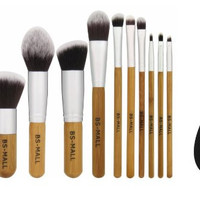 Kabuki Bamboo Makeup Brushe Set Plus 1 Blending Contouring Cosmetic Sponge