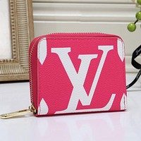 Louis Vuitton LV Fashion Women Leather Zipper Wallet Purse Rose Red