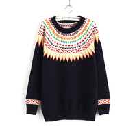 Ladies Knit Tops Pullover Round-neck Long Sleeve Sweater [8431757005]