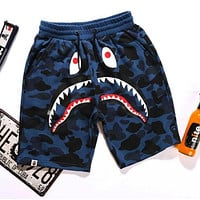 Bape men and women couple street hip hop camouflage shark print shorts F/A Blue
