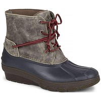 Women's Saltwater Wedge Tide Duck Boot in Grey by Sperry