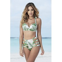 Tropical Print Strappy High Waist Swimsuit Bottom