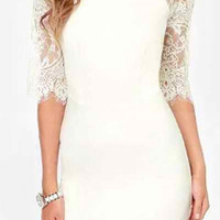 White Lace-Paneled Bodycon Dress