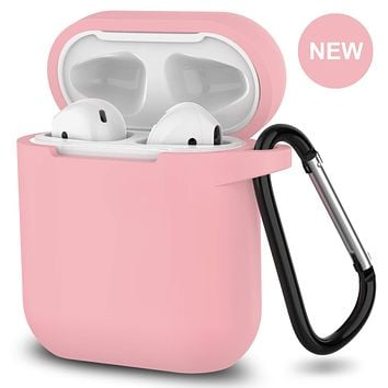 New AirPods Case, 360°Protective Silicone AirPods Accessories Kit Compatable with Apple AirPods 1st/2nd Charging Case [Not for Wireless Charging Case] - Pink