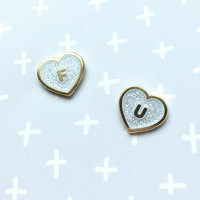 FU Heart Earrings - White Glitter Limited Edition