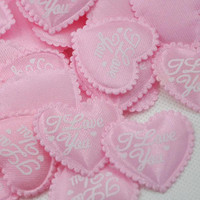 50 x Light Pink ' I Love You ' Padded  Applique Hearts. 25mm x 30mm. Perfect for Romance, Weddings, Scrapbooking, Cardmaking & Embellishment