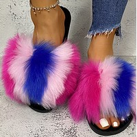 Explosive hot selling fashion plush flat sandals and slippers women