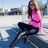 professional stretch women Sports yoga sets Long-sleeved T-shirt  + Pants sets active outdoor running Fitness clothes