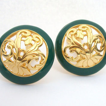 Vintage Signed GJD Ginnie Johansen Designs Green and Gold Tone Clip Earrings - Large Round Open Gold Flourish Design Green Border