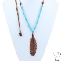 Feather Pendent Necklace - Fashion Jewelry