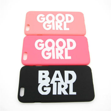 Fashion Cute BAD GOOD GIRL Pattern Hard Plastic Ultra Thin Back Cover for Apple iPhone 6 6s 4.7'' Funny Slim Phone Case Shell