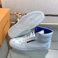 LV Louis Vuitton 2019 new men's printed letter logo platform sports shoes White