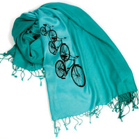 "Bicycle scarf. ""Triple Cruiser,"" pashmina. Black bicycle print on a teal & turquoise ombre scarf. For women or men.."