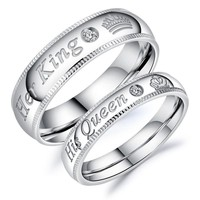Cool King & Queen Stainless Steel Ring Lovers Couple Wedding Band Rings Valentine's Gifts KQS8AT_93_12