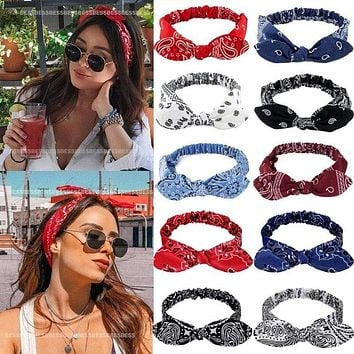 Vintage Bohemia Hair Bands for Girls Women Hair Accessories Soft Elastic Headband Retro Hoop Cross Turban Bandanas Headwear