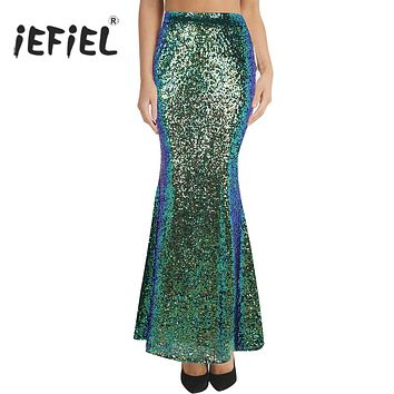 Women Ladies Fashion Long Maxi Shiny Sequin Mermaid Skirt Slim Fit Adult Formal Occasion Evening Costumes Party Wedding Skirt