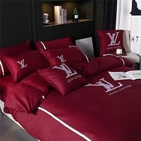 Creative 2-color Embroidery 4Pcs  Duvet Cover Bedding Sets