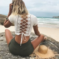 Sexy Lace Hollow Short-Sleeved Shirt Top