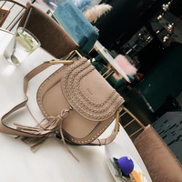 8-21【NEW】 Chloe HUDSON Braided Tassel Studded Saddle Bag Shoulder Crossbody Bag