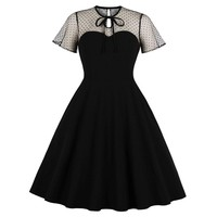 Kenancy Round Neck Ties Lace Up Women Retro Dress Summer Black Polka Dot Mesh Vintage Style Women Dress Vestidos De Festa Dress