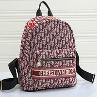 Christian DiorChristian Dior New Embroidered Letters Men's and Women's Backpack School Bag Daypack