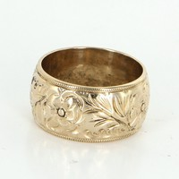 Vintage Embossed Flower Wedding Band Ring 14 Karat Yellow Gold Sz 6.25 Jewelry