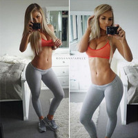 Fashion low waist solid color tight Pants