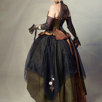 """PAYMENT Steampunk Wedding Gown Embroidered with Gothic Nature Designs """"Organic Clockwork Gown""""-Custom to Order"""