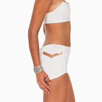 (ang) High Waist Futuristic Cut Out ivory mini shorts